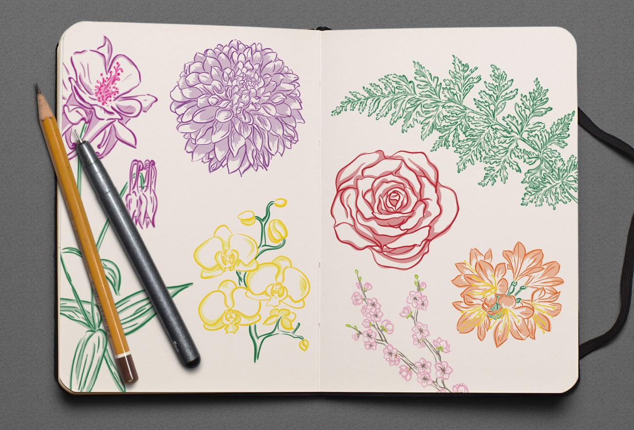 Scribbles Blumen