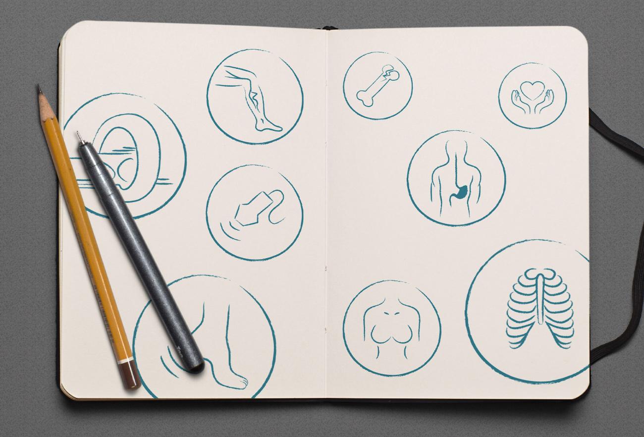 Skizzen Icons Radiologie Lienz